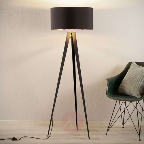Czarno-złota lampa stojąca Benik, trójnóg