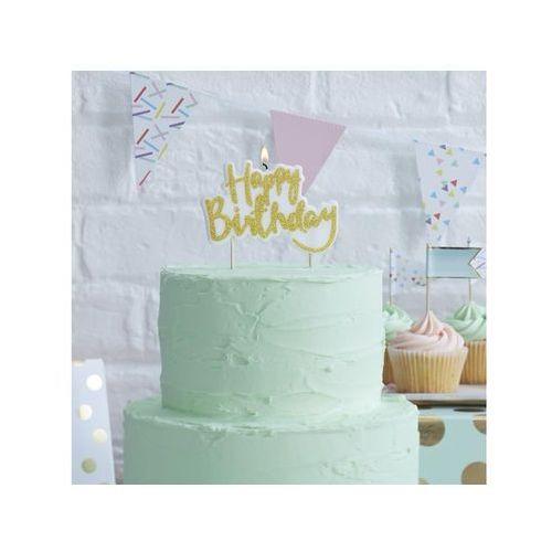 Ginger ray Świeczka na pikerach happy birthday złota - 1 szt.