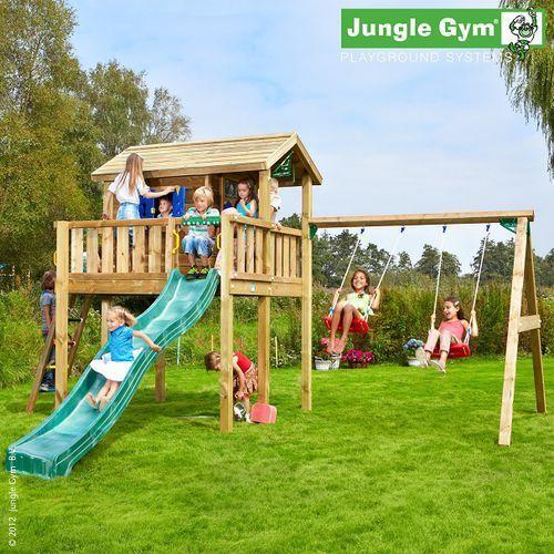 Plac zabaw z domkiem drewnianym tiger marki Jungle gym