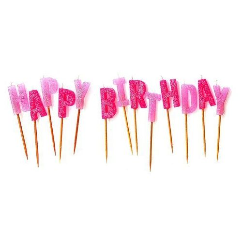 Unique Zestaw świeczek na pikerach happy birthday różowe - 1 kpl.