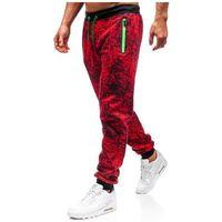 J.style Spodnie męskie dresowe joggery czerwone denley 55055
