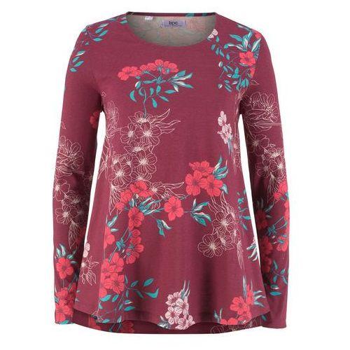 Tunika bawełniana shirtowa, długi rękaw czerwony rododendron z nadrukiem marki Bonprix
