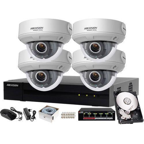 Zestaw do monitoringu firmy, hurtowni, hali Hikvision Hiwatch Rejestrator IP HWN-4104MH + 4x Kamera FullHD HWI-D640H-V + Akcesoria