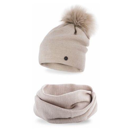 Komplet , czapka i komin - beżowy marki Pamami