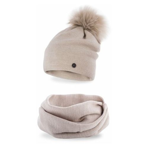 Pamami Komplet , czapka i komin - beżowy (5902934055789)