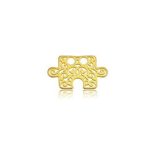Blaszka celebrytka puzzle - ażurowa, złoto próba 585 marki 925.pl