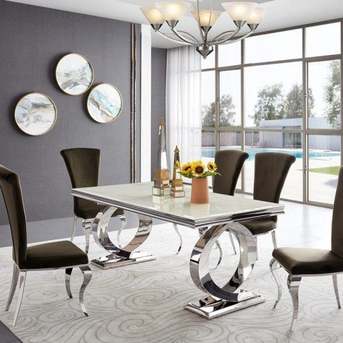 Stół glamour Buffalo - stal szlachetna blat szklany nowoczesny (5908273395456)