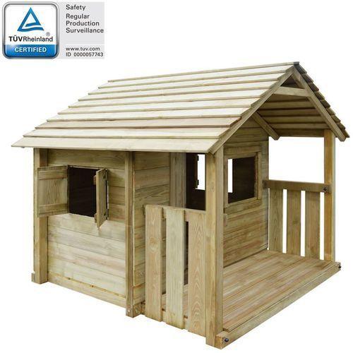 Domek dla dzieci z 3 oknami, 204x204x184 cm, drewniany