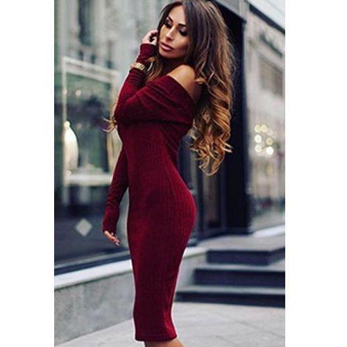 Sukienka SARIFA BORDO, kolor czerwony
