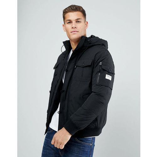 padded jacket with faux fur hood - black marki Tom tailor