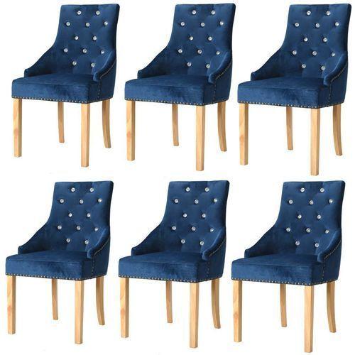 Krzesła do jadalni, 6 szt., drewno dębowe i niebieski aksamit, kolor niebieski