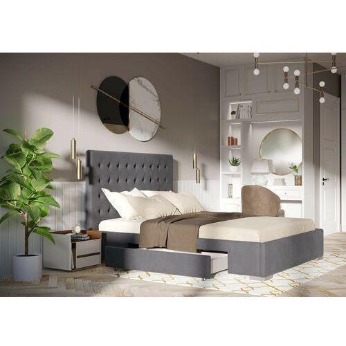 Łóżko 160x200 z 2 szufladami - pesaro welur szare marki Zona meble