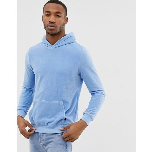 velour hoodie in light blue with piping on sleeve - blue, Bershka, XS-L
