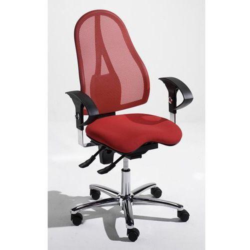 Krzesło obrotowe dla operatora, mechanizm stałego kontaktu i siedzisko ortopedyc marki Topstar