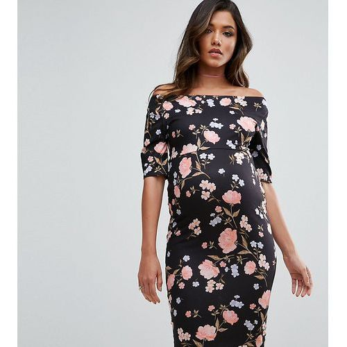 Asos maternity tall bardot dress with half sleeve in dark floral print - multi