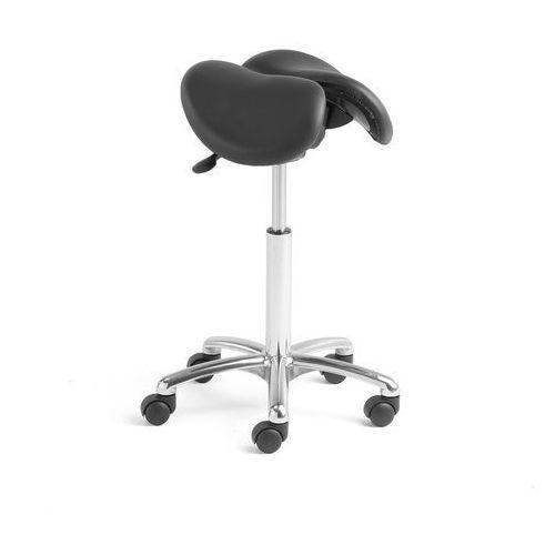 Krzesło siodłowe HARROW, 2-częściowe siedzisko, czarna skóra, 560-760 mm