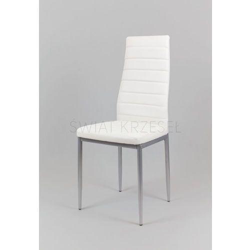 Sk design ks001 białe krzesło z eko-skóry, szare nogi - biały, nogi szare \ krzesło (5902846824169) - OKAZJE
