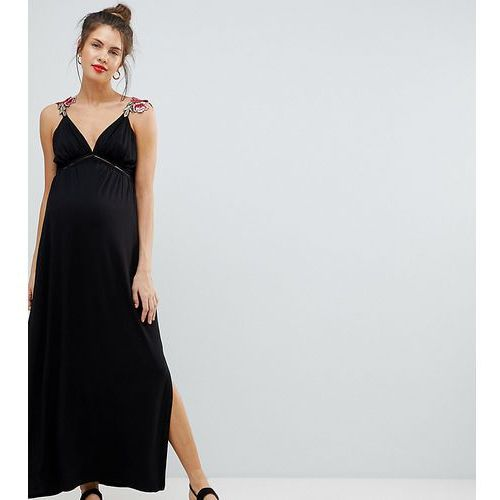 ASOS DESIGN Maternity rose applique strap maxi dress - Black, kolor czarny