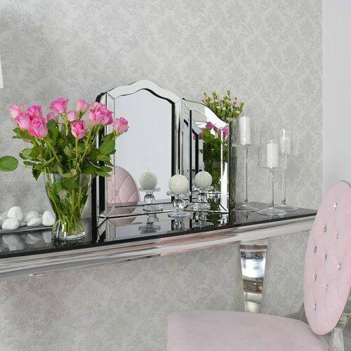Srebrne lustro glamour stojące na toaletkę M-0508