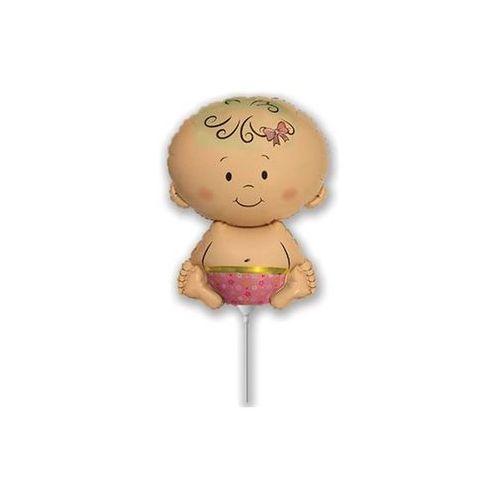 Balon foliowy do patyka Dzidziuś dziewczynka - 36 cm - 1 szt. (8435102320954)