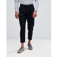 Jack & jones intelligence smart trouser in check cropped fit - navy
