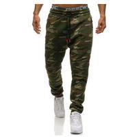 Spodnie męskie dresowe joggery moro multikolor denley 3771b, Crws dnm