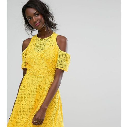 cold shoulder high neck lace dress - yellow, Boohoo
