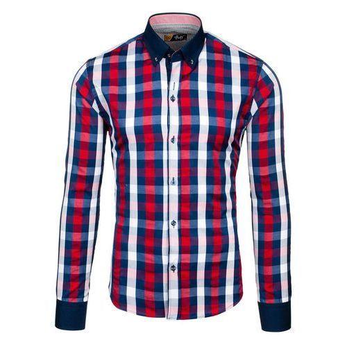 Granatowo-czerwona koszula męska w kratę z długim rękawem Bolf 4757 - GRANATOWO-CZERWONY