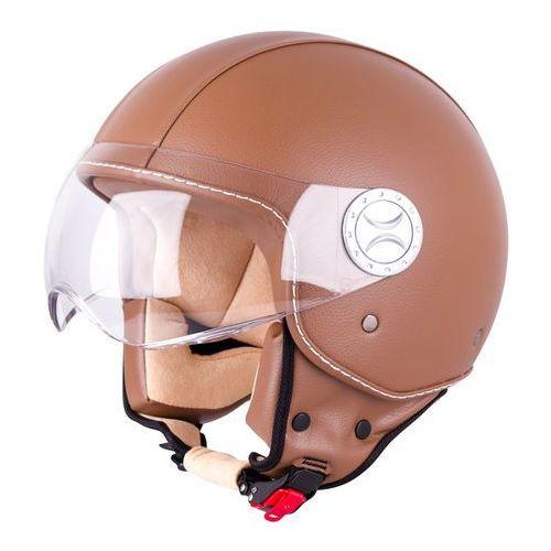 Kask motocyklowy otwarty na skuter W-TEC FS-701B Leather Brown, Brown, S (55-56) (8596084053626)