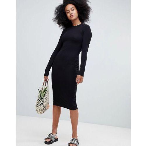 Monki Crew Neck Midi Dress - Black