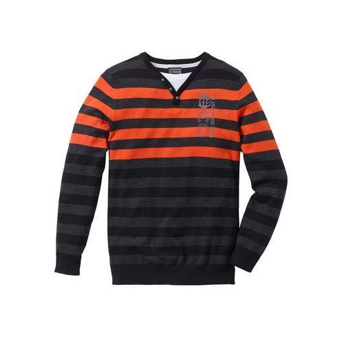 Sweter Slim Fit bonprix antracytowy melanż- ciemnopomarańczowy w paski