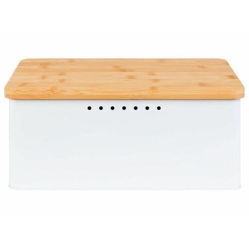 Ernesto® chlebak 2 w 1 z bambusową pokrywką (biały) (4056233880137)