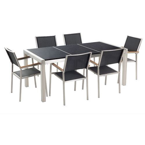 Beliani Stół granitowy czarny polerowany 180 cm z 6 czarnymi krzesłami - grosseto