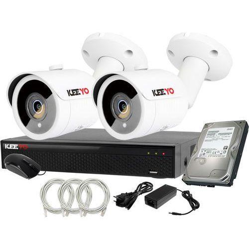 Plug&play zestaw do monitoringu ip rejestrator lv-nvr4415s-4p + 2x kamera lv-ip2m3tfe + 1tb marki Keeyo