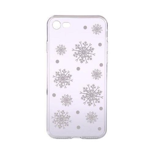 EPICO Elastyczna plastikowa osłona dla iPhone 7/8 białe płatki śniegu, kolor biały