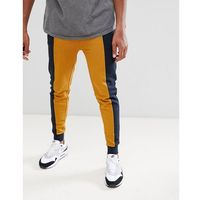 ASOS DESIGN skinny joggers with colour blocking - Navy, kolor szary