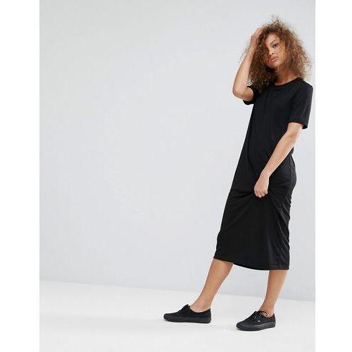 Weekday column midi dress - black