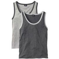 Koszulka bez rękawów (2 szt.) bonprix jasnoszary melanż + antracytowy melanż, w 3 rozmiarach