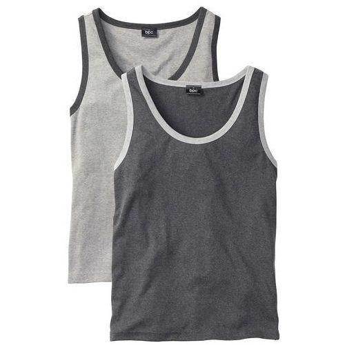 Koszulka bez rękawów (2 szt.) bonprix jasnoszary melanż + antracytowy melanż, 1 rozmiar