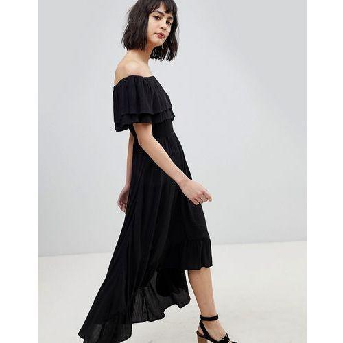 River Island Bardot Off The Shoulder Maxi Dress - Black, kolor czarny