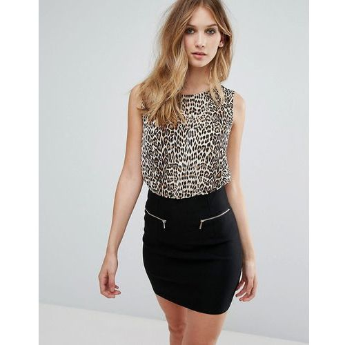QED London Leopard Print Bodycon Dress With Zip Detail - Brown