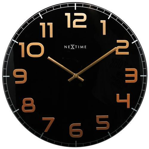 Zegar Nextime Classy 30 cm black&copper