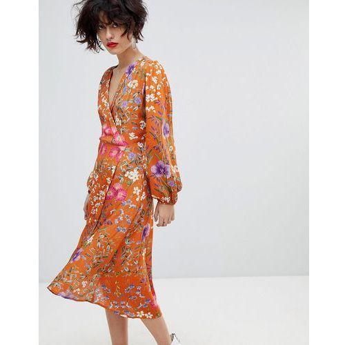 Mango Orange Floral Wrap Over Dress - Orange, 1 rozmiar