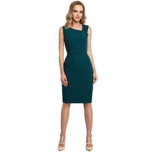 Zielona Wieczorowa Ołówkowa Sukienka z Ciekawym Dekoltem, kolor zielony