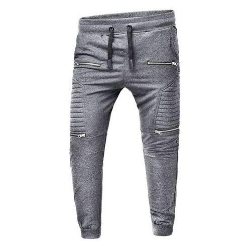 Spodnie męskie joggery dresowe atc1670 - antracytowe, Risardi, S-XXXL