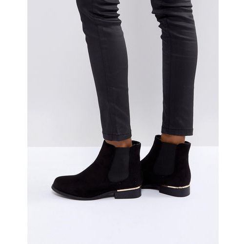Truffle Collection Metal Trim Flat Chelsea Boot - Black
