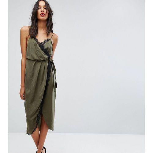 hammered satin lace trim midi wrap dress - green marki Asos tall