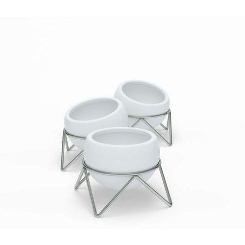Umbra - zestaw 3 doniczek potsy, biały - nikiel ||biały