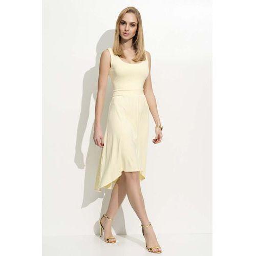 Żółta sukienka asymetryczna na szerokich ramiączkach, Makadamia, 36-40