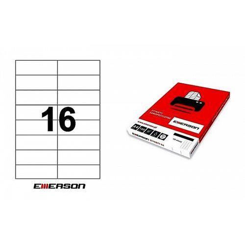 Etykiety samoprzylepne Emerson 105x37mm białe nr 023, 100ark. A4